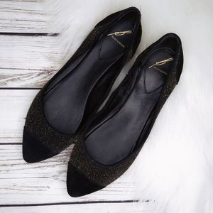 BRIAN ATWOOD BLACK GOLD SPARKLE POINTED FLATS 8.5
